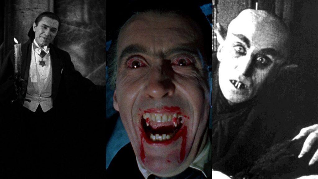 Bela Lugosi in Dracula; Christopher Lee in Horror of Dracula; Max Schreck in Nosferatu: A Symphony of Horror