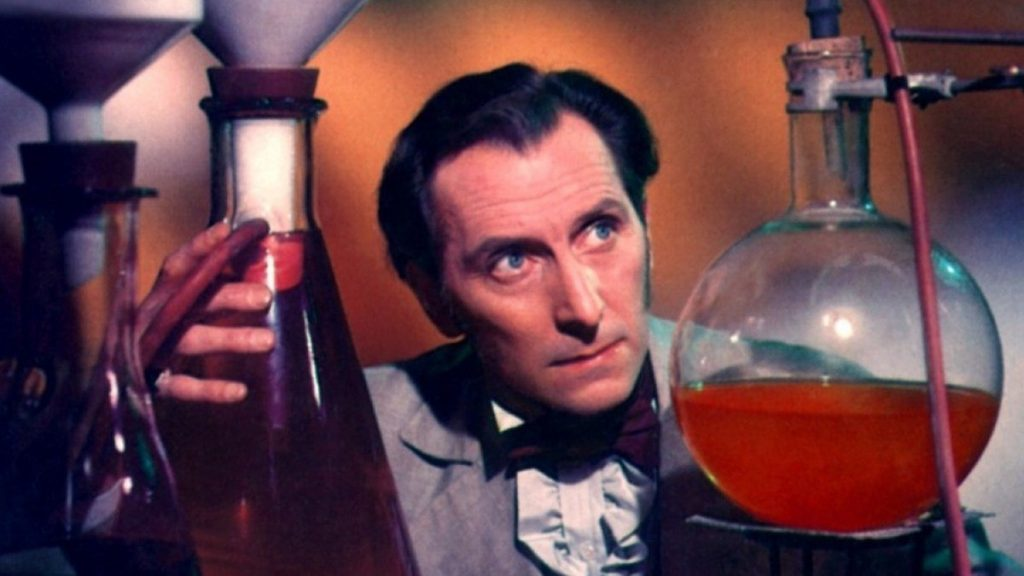 Peter Cushing in Curse of Frankenstein